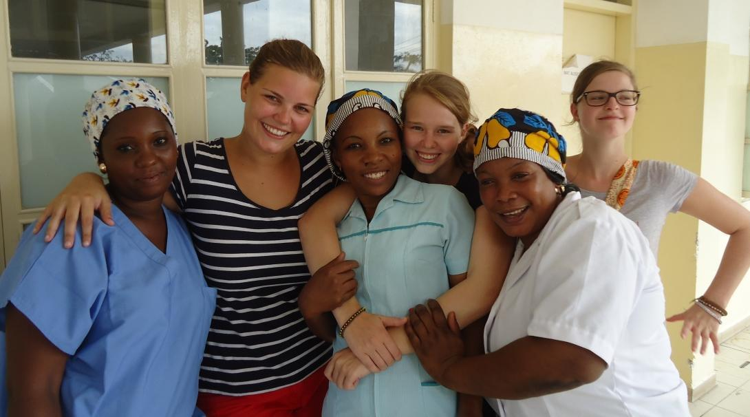 Students doing Midwifery internships abroad enjoy spending time with local colleagues at a Tanzanian hospital.